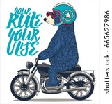 cute bear on motorcycle. vector ... | Shutterstock .eps vector #665627986