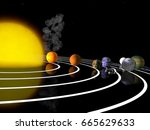 trappist 1 planetary system. 3d ... | Shutterstock . vector #665629633
