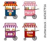 street food cart vector... | Shutterstock .eps vector #665637916