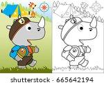 day scout vector cartoon... | Shutterstock .eps vector #665642194