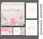 set of wedding cards or... | Shutterstock .eps vector #665642530