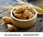 almonds  | Shutterstock . vector #665646769