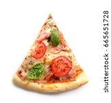pizza. fresh italian margherita ... | Shutterstock . vector #665651728