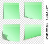 set of square green sticky... | Shutterstock .eps vector #665653594