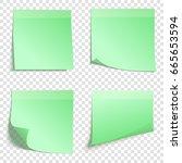 set of square green sticky... | Shutterstock .eps vector #665653594