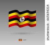 uganda flag. official colors... | Shutterstock .eps vector #665654314