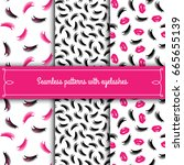 set of seamless patterns with... | Shutterstock .eps vector #665655139