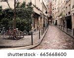narrow pedestrian street in... | Shutterstock . vector #665668600