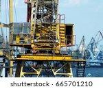 cab of crane. floating crane in ...   Shutterstock . vector #665701210