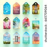 set of summer sale tags or... | Shutterstock .eps vector #665709064