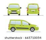 green car  side   front   back  ... | Shutterstock .eps vector #665710054