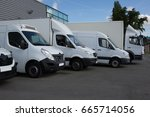 multiple trucks park in a large ... | Shutterstock . vector #665714056