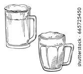 sketch set of beer glasses and...   Shutterstock .eps vector #665725450