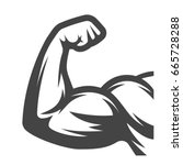 muscle arms. biceps | Shutterstock .eps vector #665728288