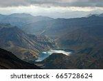 extinct volcano in the east of... | Shutterstock . vector #665728624