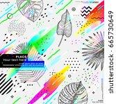 trendy memphis hipster style... | Shutterstock .eps vector #665730649