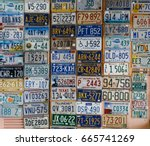 discontinued license plates...   Shutterstock . vector #665741269