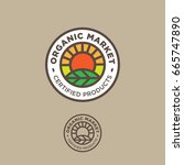 organic logo. farmer products... | Shutterstock .eps vector #665747890