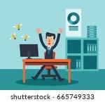 young  happy man working in... | Shutterstock .eps vector #665749333