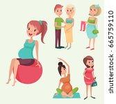 pregnancy motherhood people... | Shutterstock .eps vector #665759110
