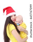 pretty happy young mother with... | Shutterstock . vector #665767099