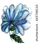 Watercolor Blue Flower....
