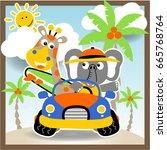 animals vacation vector cartoon ... | Shutterstock .eps vector #665768764