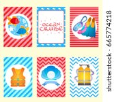 set of nautical and marine... | Shutterstock .eps vector #665774218