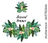 tropical summer. watercolor... | Shutterstock . vector #665782666