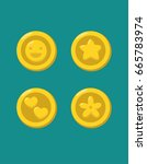 a set of icons of gold coins... | Shutterstock .eps vector #665783974