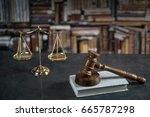 law symbols on rustic desk