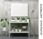 mock up poster with plants  3d... | Shutterstock . vector #665788510