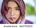 horizontal close up portrait of ... | Shutterstock . vector #665792023