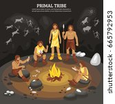 primal tribe people with cave... | Shutterstock .eps vector #665792953