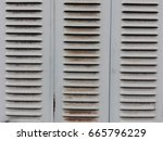 rusty metal window blinds  grey ... | Shutterstock . vector #665796229