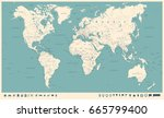 vintage world map and markers   ... | Shutterstock .eps vector #665799400