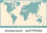 vintage world map and markers   ... | Shutterstock .eps vector #665799406