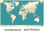 vintage world map and markers   ... | Shutterstock .eps vector #665799424
