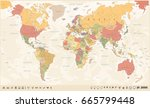 vintage world map and markers   ... | Shutterstock .eps vector #665799448
