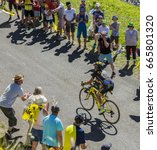 Small photo of COL DU GRAND COLOMBIER,FRANCE-JUL 17: The French cyclist Thomas Voeckler of Direct Energie Team riding on the road to Col du Grand Colombier during the stage 15 of Tour de France 2016.