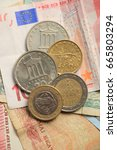 vintage greek drachma coins on... | Shutterstock . vector #665803294
