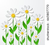 floral background with 3d... | Shutterstock .eps vector #665807770