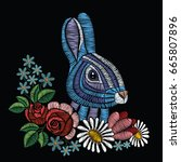 embroidery stitches with rabbit ... | Shutterstock .eps vector #665807896