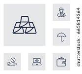 set of 6 finance outline icons...   Shutterstock .eps vector #665814364
