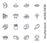 set of 16 food outline icons...   Shutterstock .eps vector #665815858