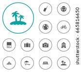 set of 12 journey icons set... | Shutterstock .eps vector #665816650