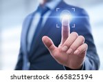 fingerprint scan provides... | Shutterstock . vector #665825194