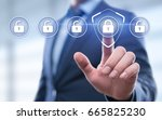 cyber security lock on digital... | Shutterstock . vector #665825230