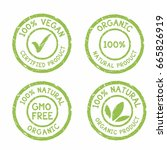 set of eco organic natural... | Shutterstock .eps vector #665826919