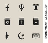 set of 9 editable religion... | Shutterstock .eps vector #665838859